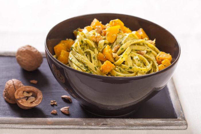 ricetta delle tagliatelle alla zucca con Pancetta Menatti